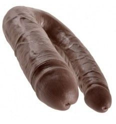King cock dildo doble penetración 17.8 cm marron