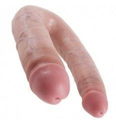 King cock dildo doble penetración 17.8 cm natural