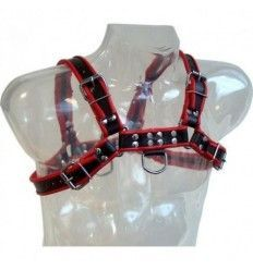 Leather body chain arnés iii black / red